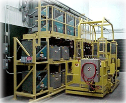 battery changing systems and battery handling equipment Dual Level, Side Extraction with Battery Selector System and On-Board Watering System